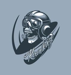 kamikaze skull in aircraft cabin monochromic vector image
