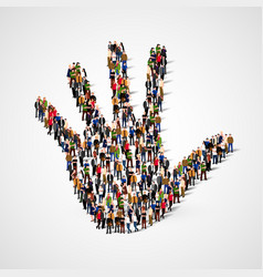 Large group of people in form of hand icon care vector
