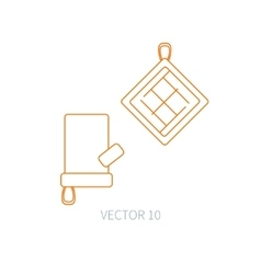 Line flat kitchenware icons - oven-glove vector image