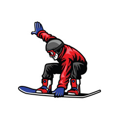Man ride snowboard and doing stunt vector