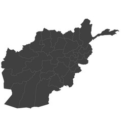 Map of afghanistan split into regions vector