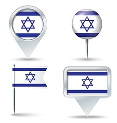 Map pins with flag of Israel vector