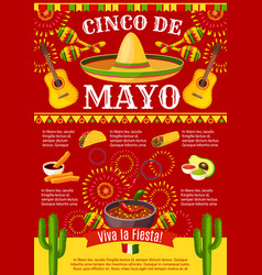 mexican cinco de mayo holiday fiesta poster vector image