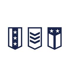 military ranks army epaulettes on white vector image