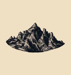 Mountain peaks vintage rock old highlands range vector