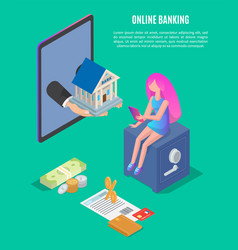 online banking poster text vector image