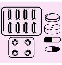 Pills tablets close-up vector