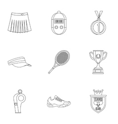 Play in tennis icons set outline style vector