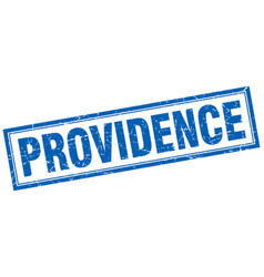 Providence blue square grunge stamp on white vector