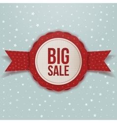 Realistic Christmas big Sale red Label with Ribbon vector image