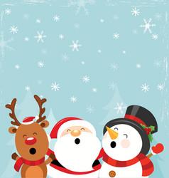 santa reindeer and snowman enjoying snow vector image