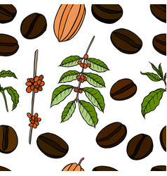 seamless pattern of cocoa beans vector image