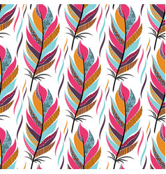 seamless pattern with large colored feathers and vector image