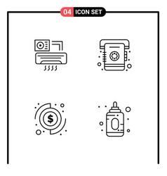 Set 4 filledline flat colors on grid for air vector