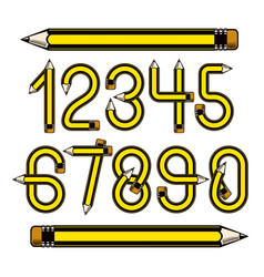 Set of numbers constructed with sharp pencils vector