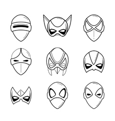 Set of super hero masks in linear style vector
