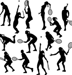 Silhouettes of the women who play tennis vector image