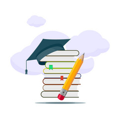 Stack books with a graduate cap on top vector