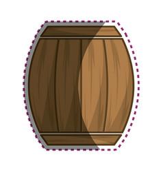sticker wood barrel of wine beverage tasty vector image