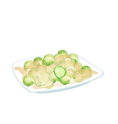 Stir Fried Brussels Sprout on A White Plate vector image