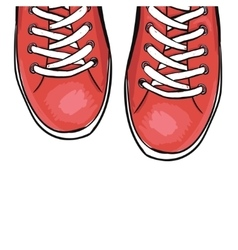 Summer trendy sports shoes Red shoes vector image