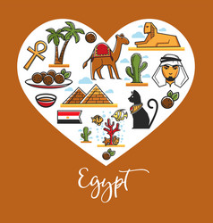 travel to egypt symbols architecture and landmarks vector image