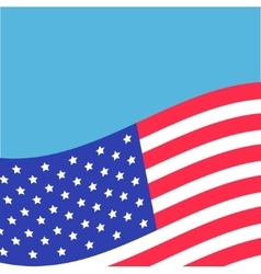 Waving American flag frame Blue background vector image