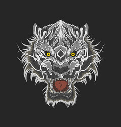 White tiger beast head mascot vector