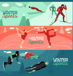 Winter sports horizontal banners vector