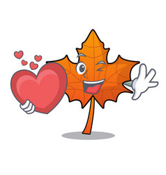 With heart red maple leaf mascot cartoon vector