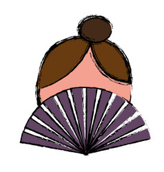 woman and hand fan icon vector image