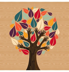 Abstract Diversity Tree hands vector image