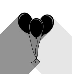 balloons set sign black icon with two vector image vector image