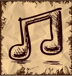 Double music note isolated on vintage background vector image vector image