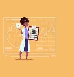 female african american doctor holding clipboard vector image