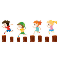 four kids running on the logs vector image