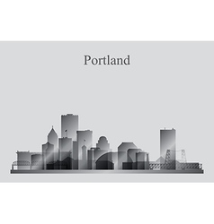 Portland city skyline silhouette in grayscale vector image