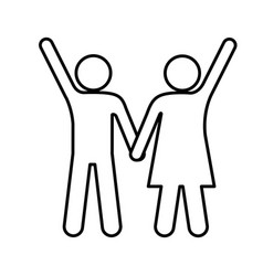 silhouette pictogram man and woman taken of hands vector image vector image