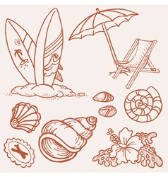 summer seaside doodles vector image vector image