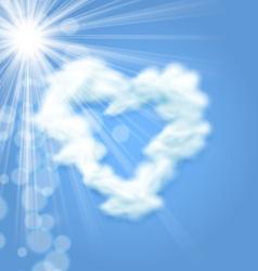 Sun Fluffy Cloud Shape Heart Love Symbol vector image