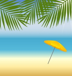 Yellow parasol at the beach under palm trees vector image vector image