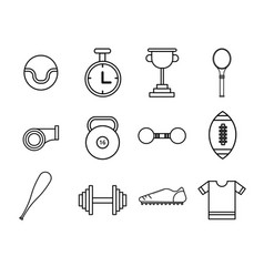 flat thin line sport icons set vector image vector image