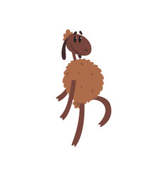 funny sheep character walking on two legs cartoon vector image vector image