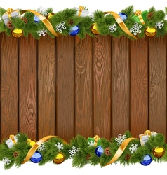 Seamless Christmas Board with Golden Ribbon vector image vector image