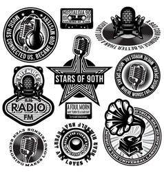 set of retro badges templates gramofon vector image vector image