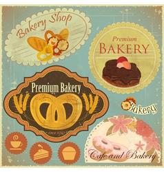Set of Vintage Bakery and Cafe Labels vector image vector image