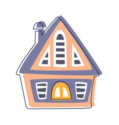 small wooden hut in blue and pink color cute vector image