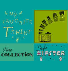 vintage cards with texts by artistic font vector image vector image