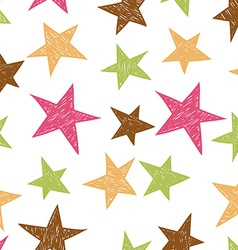Hand drawn pattern from colorful stars vector image