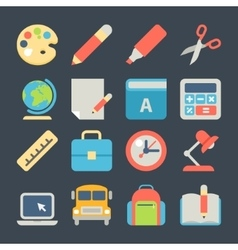 School and Education Flat Icons for Web Mobile vector image